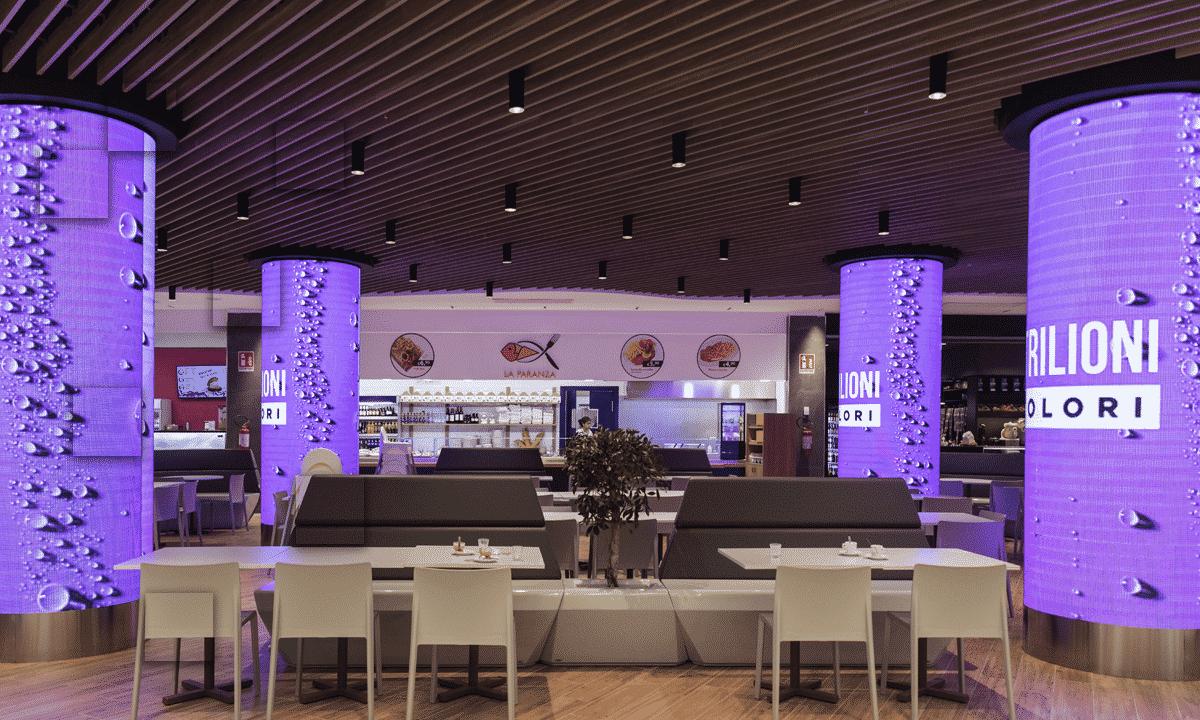 ledwall cilindrico centro commerciale Cospea