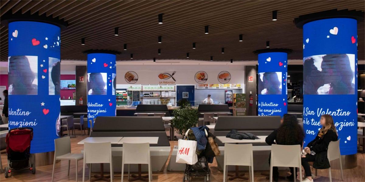 Campagna Pubblicitaria Baci Perugina centro commerciale Cospea