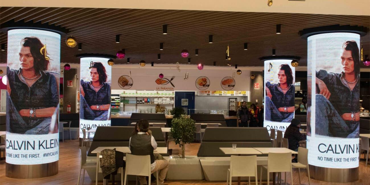 campagna pubblicitaria Calvin Klein centro commerciale Cospea
