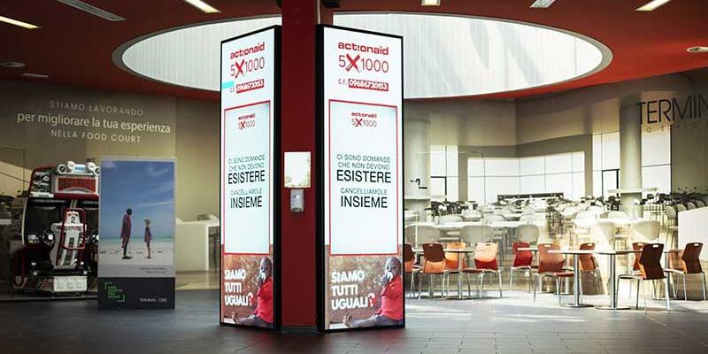 Campagna Pubblicitaria Action Aid centro commerciale Terminal Nord